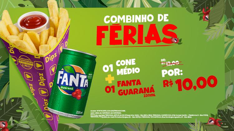 01 CONE MÉDIO + 01 FANTA GUARANÁ 220ML DE R$ 12,00 POR R$ 10,00